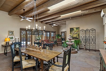Garden Room opens to an Entertainment Portal with Jemez Mountain Views