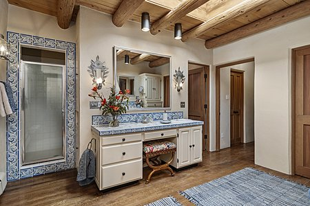 Portuguese Tiles and Custom Cabinetry in the Owners' Bath...
