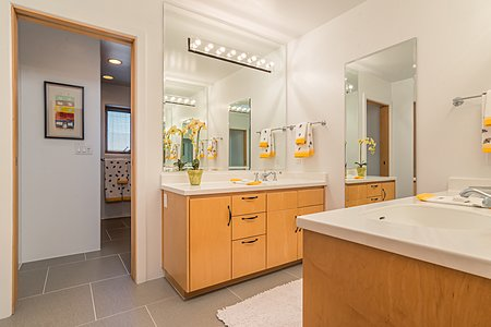 Shared Guest Bath with Double Vanities