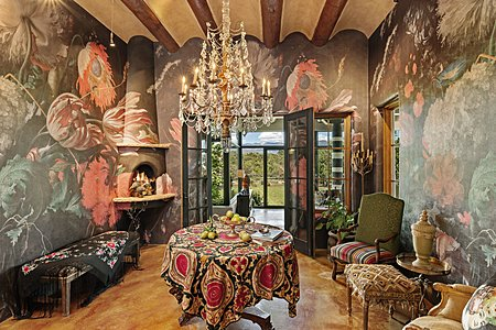 Extravagant Dining Room with Hand-made Dutch Masters Wallpaper and matching Hand-painted Fireplace