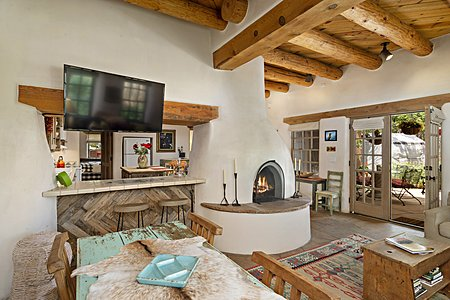 Large Double-sided Kiva Fireplace in the Great Room...