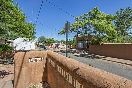 View of the Famous Artist Street, Canyon Road in Santa Fe, NM