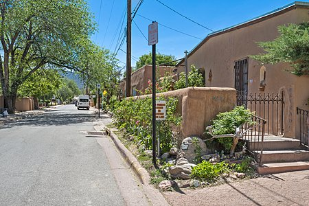View up the street of Famous Artist Street, Canyon Road in Santa Fe, NM