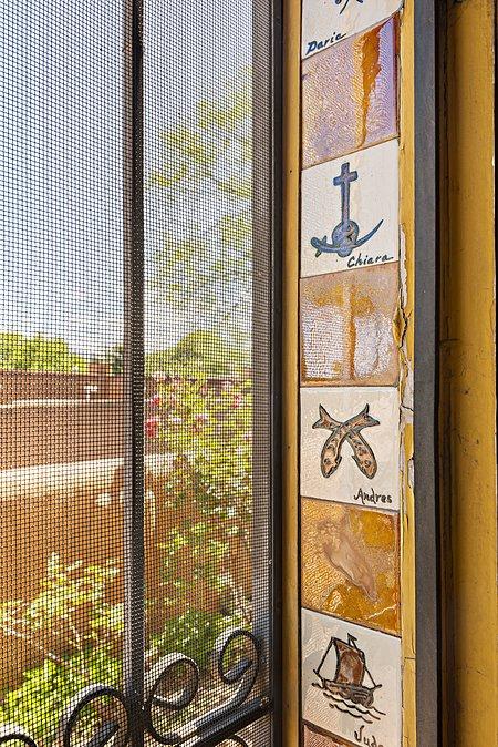 Handmade Tiles by Drew Bacigalupa in door way to Gallery