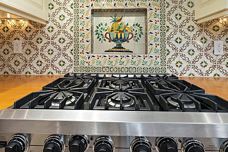 Viking Gas Range/Ove with tile shelf above for Spices