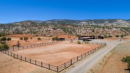Stables, barn, and corral area