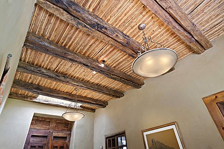 Beautiful beam and latilla ceiling in Main house