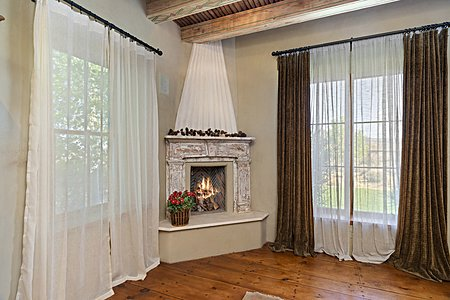 Master bedroom fireplace in the Main house