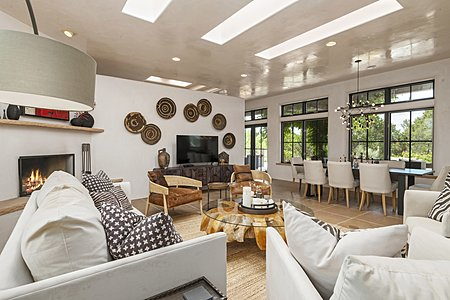Living room with integrated dining area