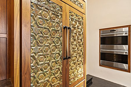 Detail of Custom Handcrafted Fronts to the Refrigerator Doors