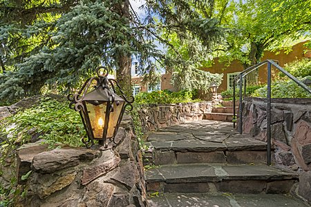 Stone Stairway with Period-fashioned Light Fixture leads to the Guest House
