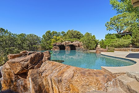 Outdoor pool with rock detail