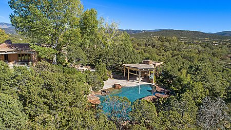 POOL – aerial view of pool and pool house