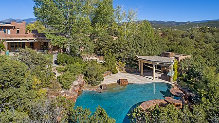 Aerial view of pool and pool house
