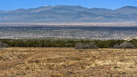 View to the North East of Sangre de Cristo mountains and city of Santa Fe