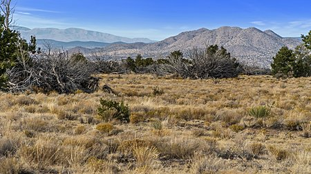 View to the North West of Cerrillos Hills with the Jemez mountains in the background